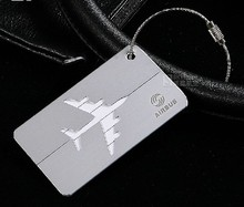 Airbus / Boeing Metal luggage tag Aluminum alloy silver air plane travel tags identity card lock special personality cool