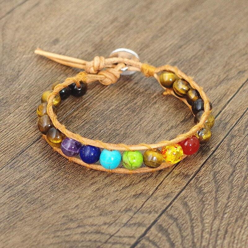 Tiger Eye Stone Beads 7 Chakra Leather Wrap Bracelet & Bangle Boho Yoga Chakra Charm Bracelet Gift Men Women Fashion Jewelry bracelet
