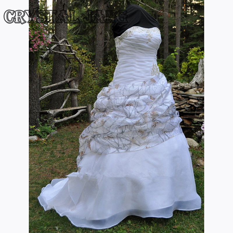 Camo Wedding Dress Strapless Lace Up Ball Gown With Pickups True Timber Snow In Organza Bridal Liques Dresses From Weddings