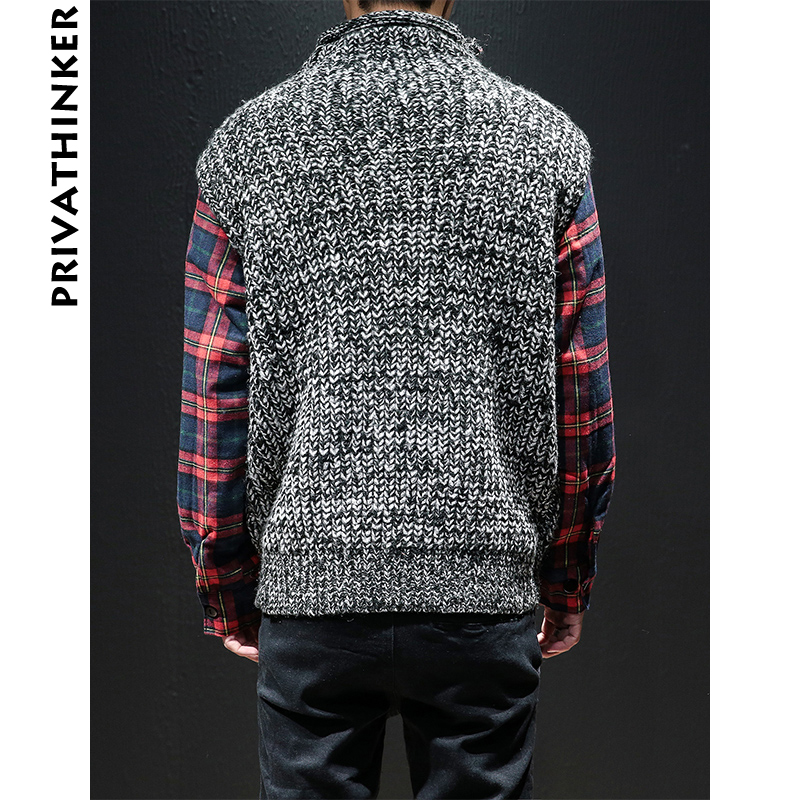 1f952e950d Privathinker Men Harajuku Winter Sweaters 2018 Mens Patchwork Fake Two  Pieces Sweater Black Pullover Male Korean Couple Clothing-in Pullovers from  Women s ...