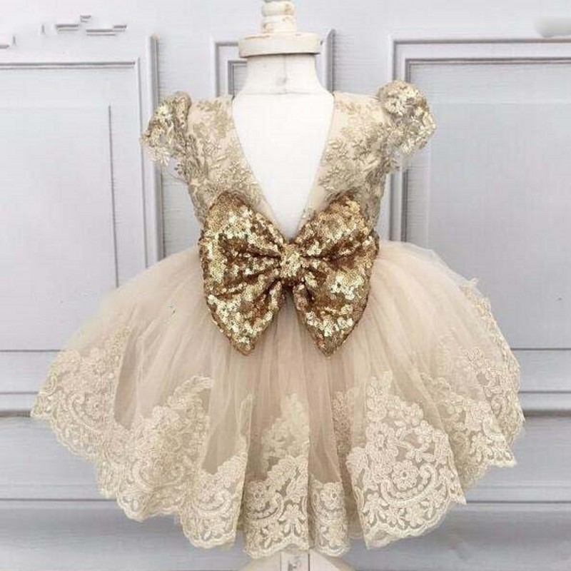 vestido daminha Champagne   Flower     Girl     Dresses   Cap Sleeves Tulle Puffy   Flower     Girl     Dress   Lovely   Girls   Communion   Dresses