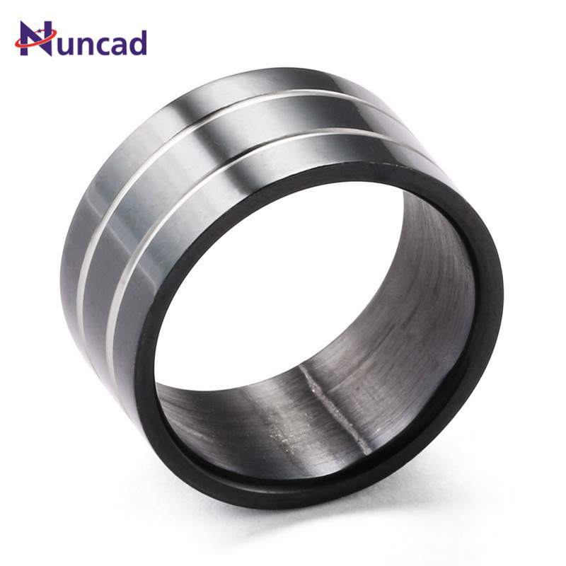 Hot Popular Minimalism Stainless Steel Rings For Men 2 Liness Of 3 Rows Bague Homme Anillos Hombre Men Jewelry Black Men Ring