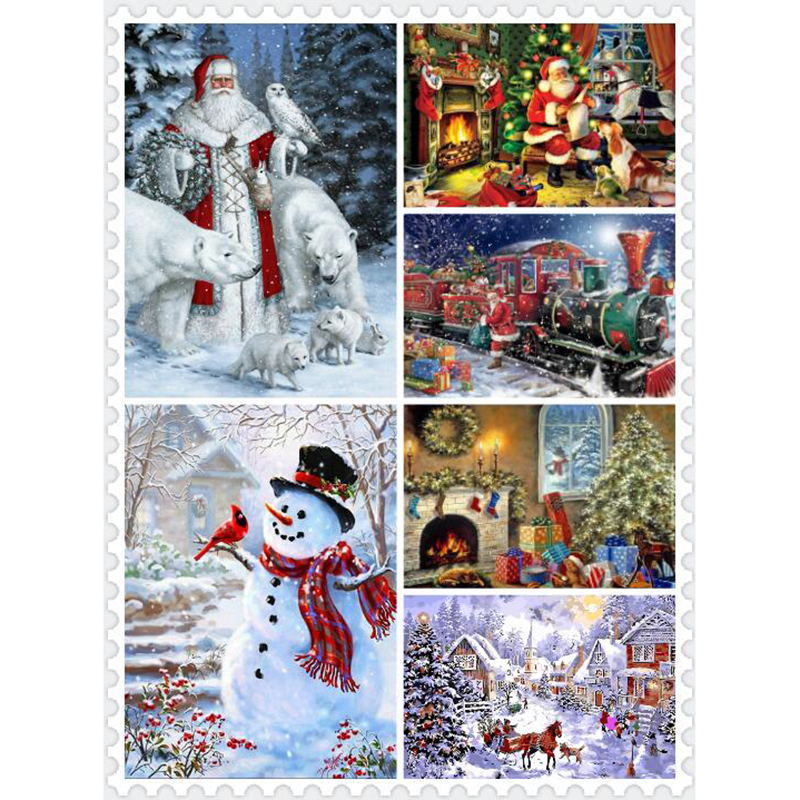 Christmas Landscape DIY Painting By Numbers Home Decoration HandPainted Oil Paint On Canvas Wall Art Picture Artwork Santa Claus