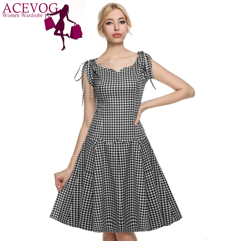 Buy Cheap ACEVOG Women summer casual dresses 2017 sexy vestidos 1950s Retro Vintage Style Short Sleeve Plaid and Dot Swing Midi Dress