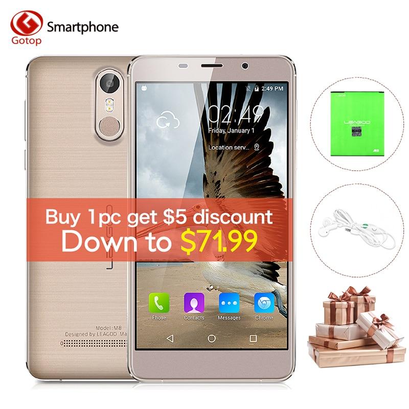 bilder für Leagoo M8 MT6580A Quad-Core-Handy 5,7 Zoll Android 6,0 Smartphone 2 GB RAM 16 GB ROM 13.0MP Fingerabdruck Entsperren Handy telefon