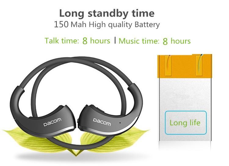 Dacom Armor Bluetooth V4.1 Stereo Headphones IPX5 Waterproof Wireless Outdoor Sports Headset Handsfree Music Earphone With Mic(12)