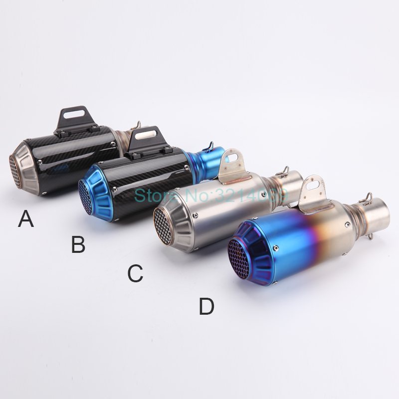 Universal Inlet 51mm Motorcycle Akrapovic Exhausts Pipe Muffler Scooter Carbon Fiber Exhaust Muffler Escape With 36-50mm Adapter