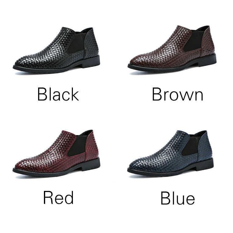 LAISUMK Low Cut krokodyla skóra ekologiczna z wzorem buty męskie Slip-on buty do biura jednolity kolor formalne buty sukienka