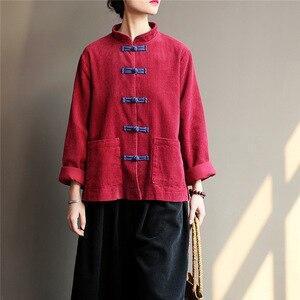 Image 4 - Johnature kobiety sztruks koszule bluzki w stylu Vintage chiński styl topy 2020 jesień nowy Solid Color przycisk luźna, wysoka wysokiej jakości koszule