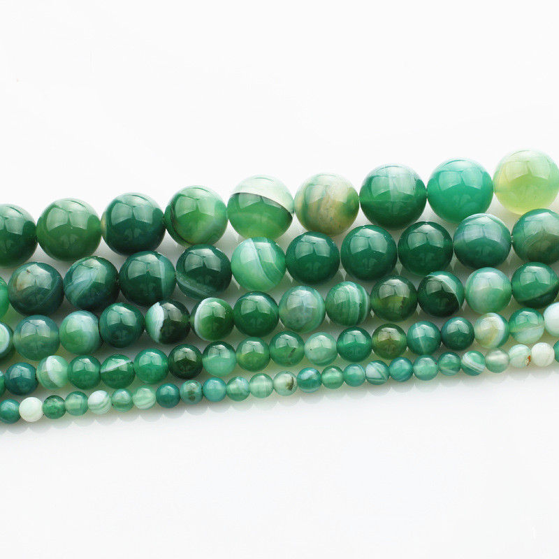 In 15 strang Natürliche Stein Grün Streifen Achate Runde Perlen 4 6 8 10 12 Mm Perle Für Diy Armband Halskette Schmuck Der Hk169 Novel Design;