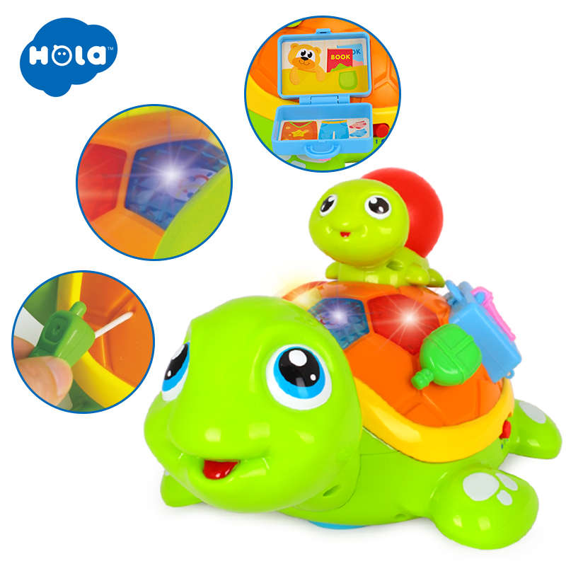 HOLA 868 Parent-Child Tortoise Interactive BO Electric Animal Puzzle Turtle Toddler Crawling Baby Toys for 6M