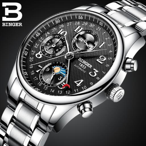 Binger Men Luxury Brand Roman Number Hand-wind Leather Watch Automatic Mechanical Wristwatches Gift Box Relogio Releges стоимость