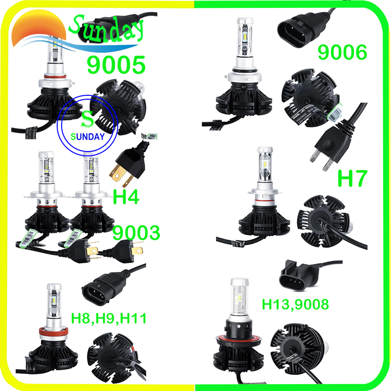 H1 H3 9012 9003 H4  9005 9006 HB4 9008 H13 H7 H8 H9 H11 X3 Led Auto Car Headlight 50W 12000LM 6500K Automobile Bulb CSP 2PC/Lot майка классическая printio killer