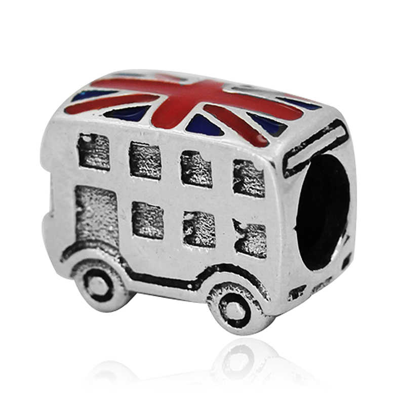 European Charms Beads Silver Plated London Bus Big Hole Loose Bead Fit Pandora Bracelet & Bangle Jewelry Making Findings