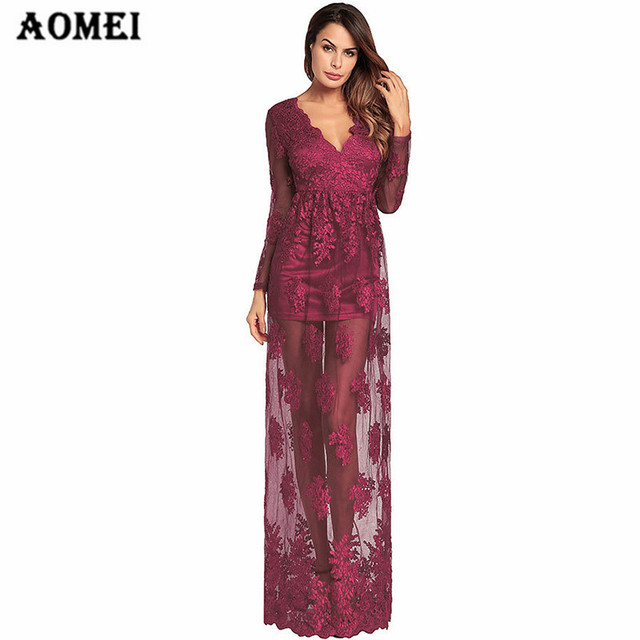 876aa79773 Women Vintage Party Dress V Neck Transparent Lace Floor Length Lady Fashion  Evening Elegant Robes Spring Summer Fashion Gowns
