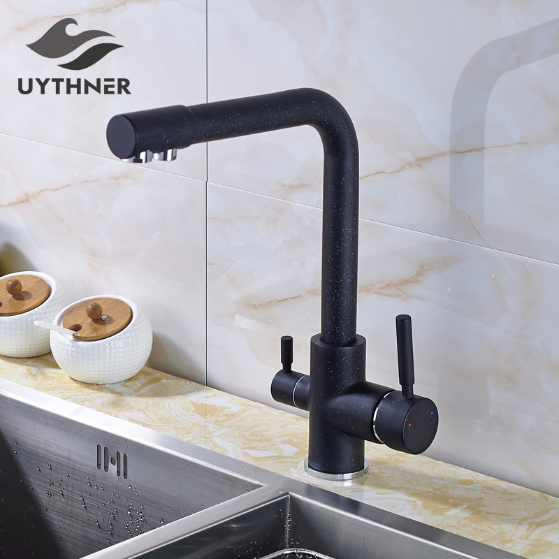 Chrome Filter Kitchen Faucets Deck Mounted Mixer Tap 360 Rotation with Water Purification Features Mixer Tap Crane For Kitchen