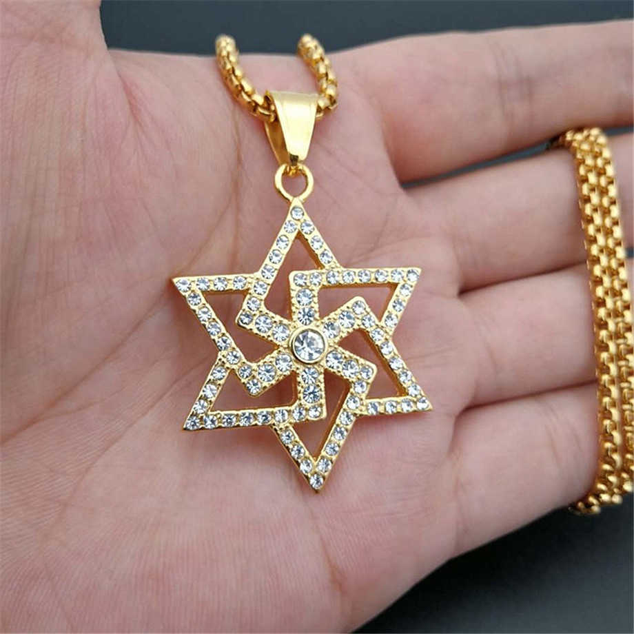 Iced Out Star of David Swastika Pendant Necklace Gold Color Stainless Steel Chains For Men Jewish Buddhism Religious Jewelry