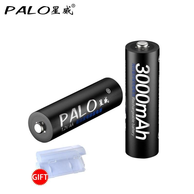 2Pcs Original PALO 1 2V AA Battery Rechargeable Batteries 3000mah 2A Bateria Baterias Ni mh Rechargeble