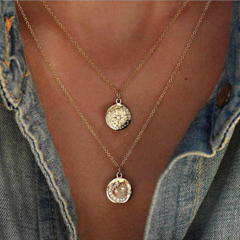 AILEND Retro Moon Star Crystal Pendant Necklace Lady Double Necklace Jewelry Bohemian Jewelry Fashion Multilayer Necklace Set