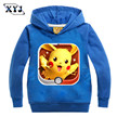 2016 Autumn Pokemon Hoodies Kids Sweatshirt Children's Tops For Boys Black Blue Pink Printing Sweatshirts Girls Sport Shirt