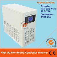 Hybrid controller inverter with UPS for off grid solar power system, 1500W 24V pure sine wave inverter with 30A PWM controller