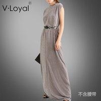 Весна Новый стиль свободные длинные корейский бархатное платье и европейские и американские платья без рукавов