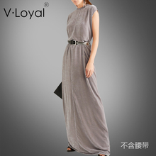 Spring new style loose long Korean velvet dress and European American sleeveless dresses
