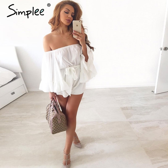 Simplee Sexy off shoulder flare sleeve jumpsuit