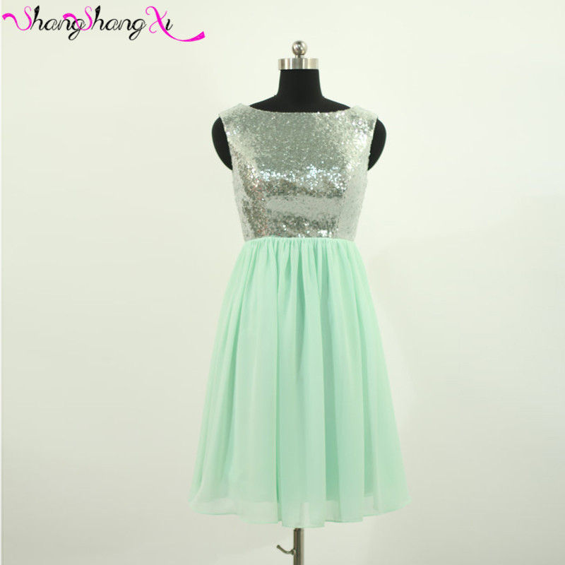 Mint Chiffon Short Prom Dresses 2016 Silver Sequined Cheap