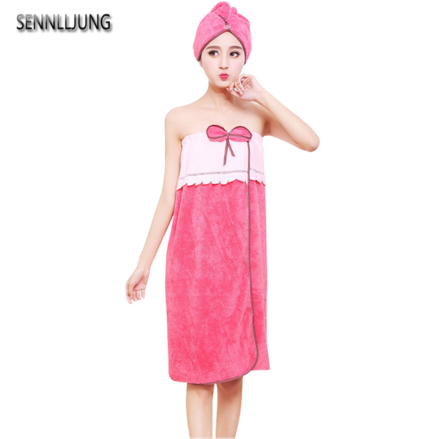 4cea9ef25b SENNLLJUNG Microfiber Towel Bath Towels For Adults Women Sexy Wearable  Absorbent Bath Towel Bow-knot Body Wrap Bathrobe Vs Pink