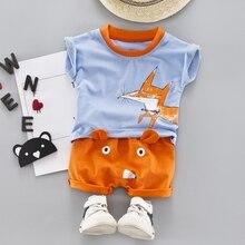 Toddler Baby Boys 2pcs Summer Outfits Cartoon Animal Print Short Sleeve T-shirt Tops+Shorts Casual Sets