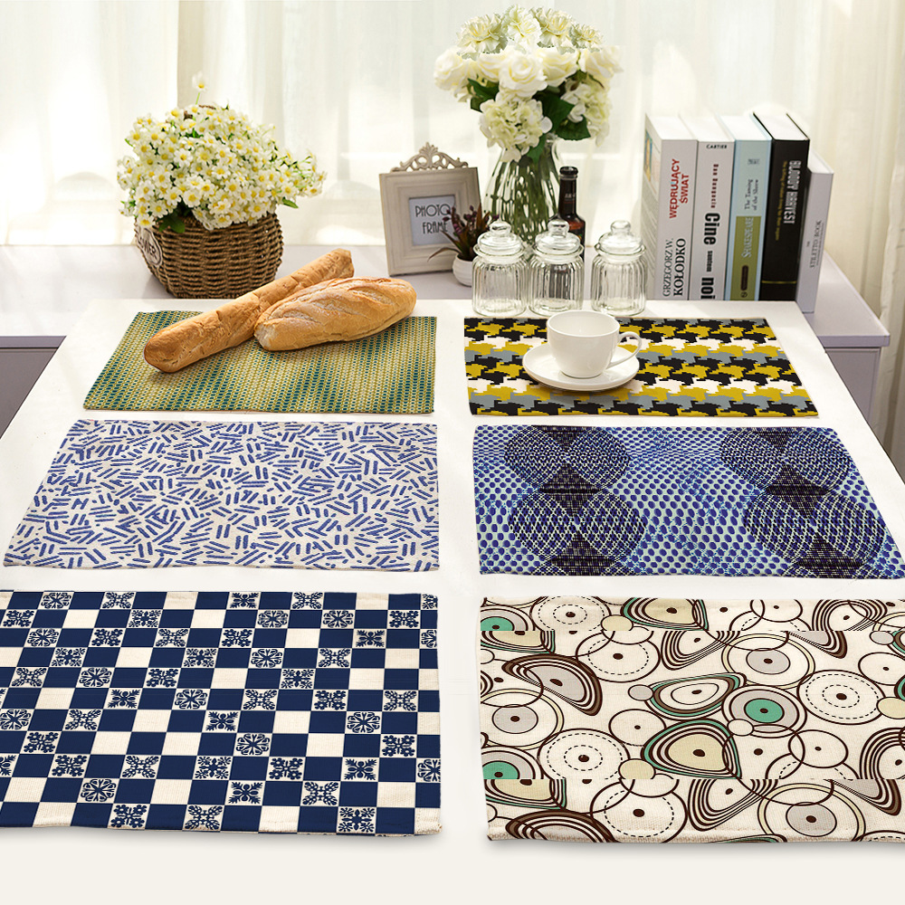 CAMMITEVER Geometry Resistant Eat Mat Weaving Art for Table Heat Anti-skid Washable Dining Table Set Kitchen Placemat Drop Order