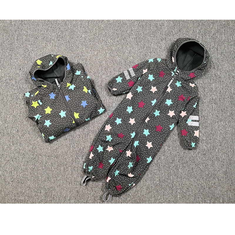 kids/boys/girls windproof / waterproof softshell hooded jumpsuit, slim shape design,  size 80 to 116-in Rompers from Mother & Kids