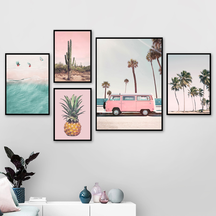 HTB1krGybznuK1RkSmFPq6AuzFXa9 Pink Bus Cactus Pineapple Blue Sea Beach Wall Art Canvas Painting Nordic Posters And Prints Wall Pictures For Living Room Decor