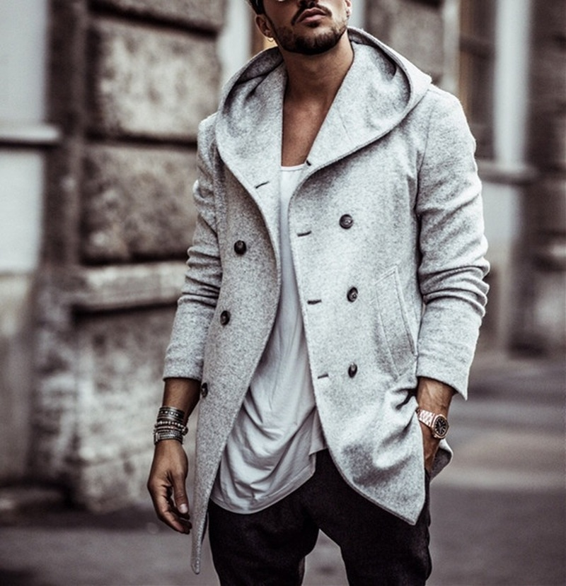 ZOGAA Spring Autumn Men Wool Polyester Windbreaker Hooded Trench Coat Jacket Male