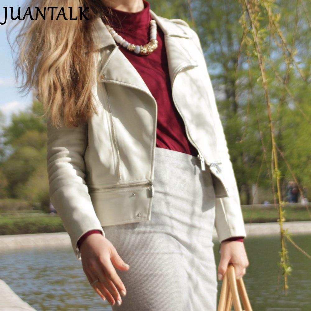JUANTALK אופנה אביב סתיו נשים רכות פו שטף מעיל עור שרוול ארוך רוכסן להסרה מעילי PU אופנוע