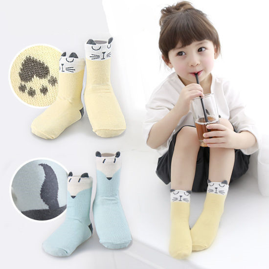 2017 Newborn Baby Socks Fox Anti Slip Leg Warmers Girls Boys Kids Animal Socks Cotton with Rubber Hosiery Foot Wear Cute Brand