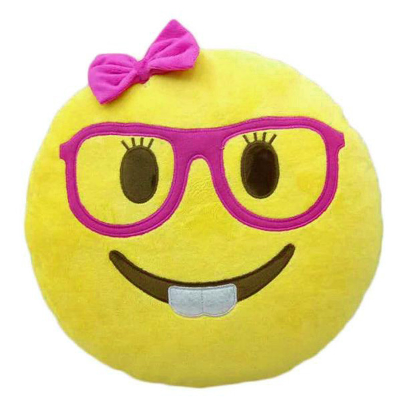 1PC 32*32cm Smile Emoji pillow cushion Home decor throw toy pillow Emoticon emotion with Glasses smiley face cushion on sale