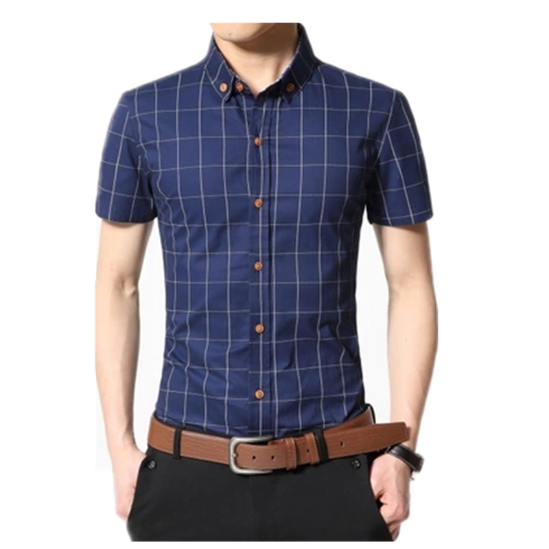 Men Shirt Men's Shorts Sleeve Slim Fit Checkered   Dress Shirt 2020 Summer Camisa Social Masculina Chemise Homme