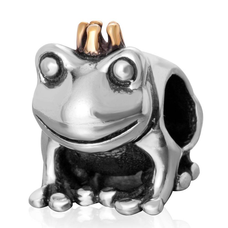 Sambaah Crown Frog Prince Charm 925 Antique Sterling Silver Crown Animal Beads fit Pandora Style Animal Silver Bracelet SS3232 in Beads from Jewelry Accessories