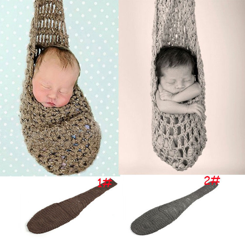 Crocheted Baby Hanging Stork Pouch Sack Newborn Photography Props Knitted Hammock Cocoon for Photo Props 1set H223