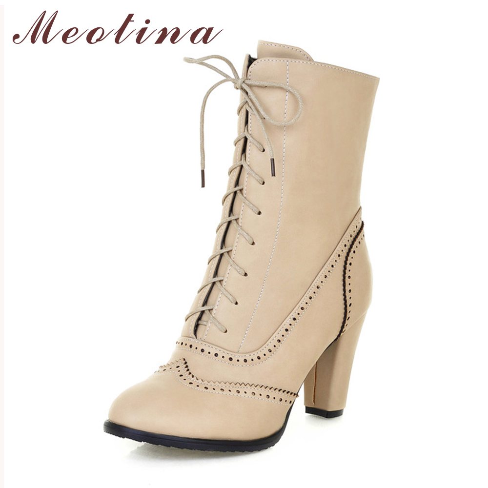 Meotina Women Boots Black Boots Women Lace Up Plain Mid Calf Boots Autumn Pointed Toe Chunky High Heels Boots Big Size 9 10 43 купить дешево онлайн