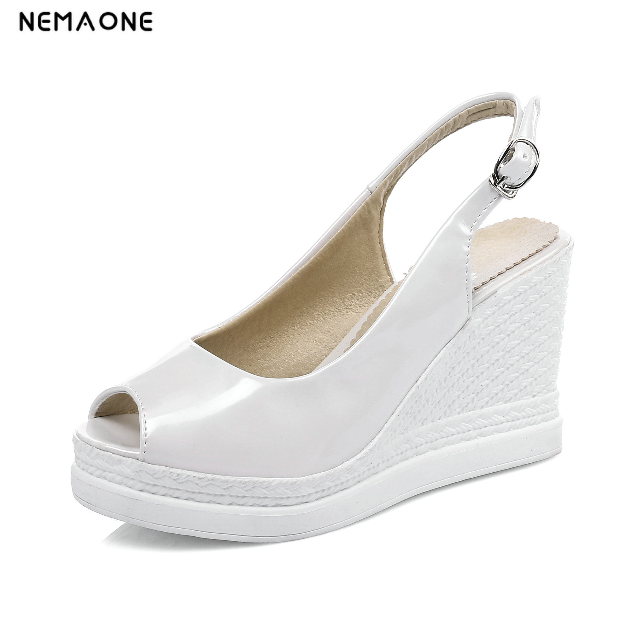 NEMAONE sexy fashion sandals woman 2018 summer wedges high heels gladiator plus size party shoes buckle sandals