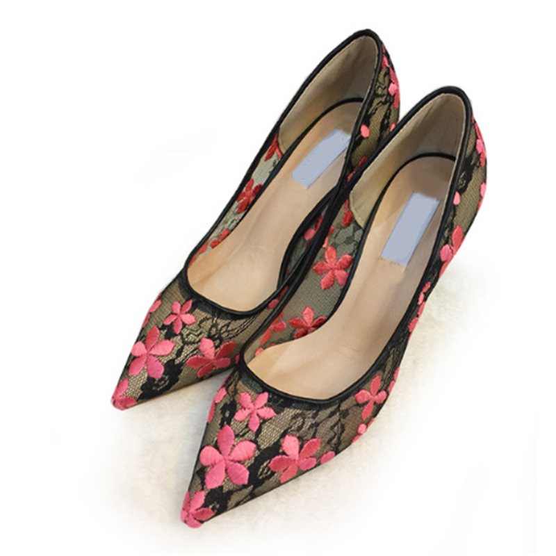 abea173eba WEIQIAONA 2019 New Woman Shoes Fashion Lace Black with Flowers Female  Pointed Toe Pumps High Heels