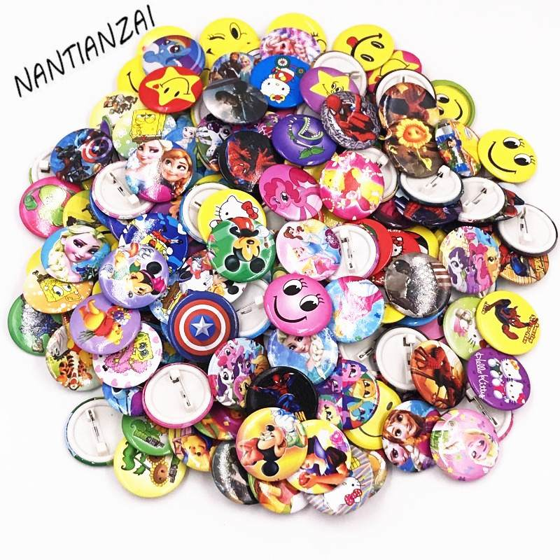 Jewelry Sets & More Brooches 100pcs Spider Man Super Heros Plastics Pin Badges Cartoon Brooch Badge Kids Birthday Prize Gift Costumes Backpack Badge Icon
