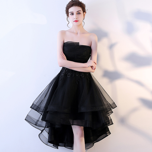 LAMYA Robe De Soiree Lace Appliques Short Front Evening Dress 2019 Customized Sleeveless Banquet Sexy Prom Dress Party Gown 3