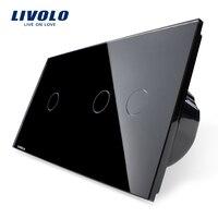 EU Type Switch Livolo Luxury Crystal Glass Panel Touch Switch Wall Light Switch VL C701 12
