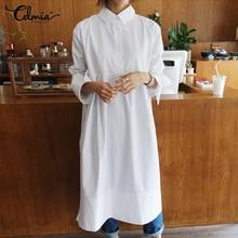 Casual Long Sleeve Shirts Dresses Celmia 2019 Autumn Loose Stand Collar Solid Buttons Midi Dress Plus Size Vestidos Kaftan Robe