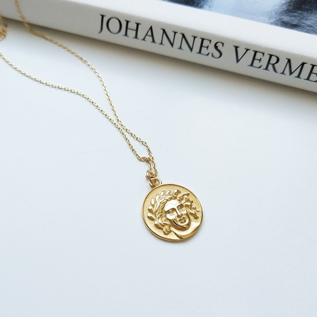 925 sterling silver Avatar human face necklace gold round portrait figure neckla