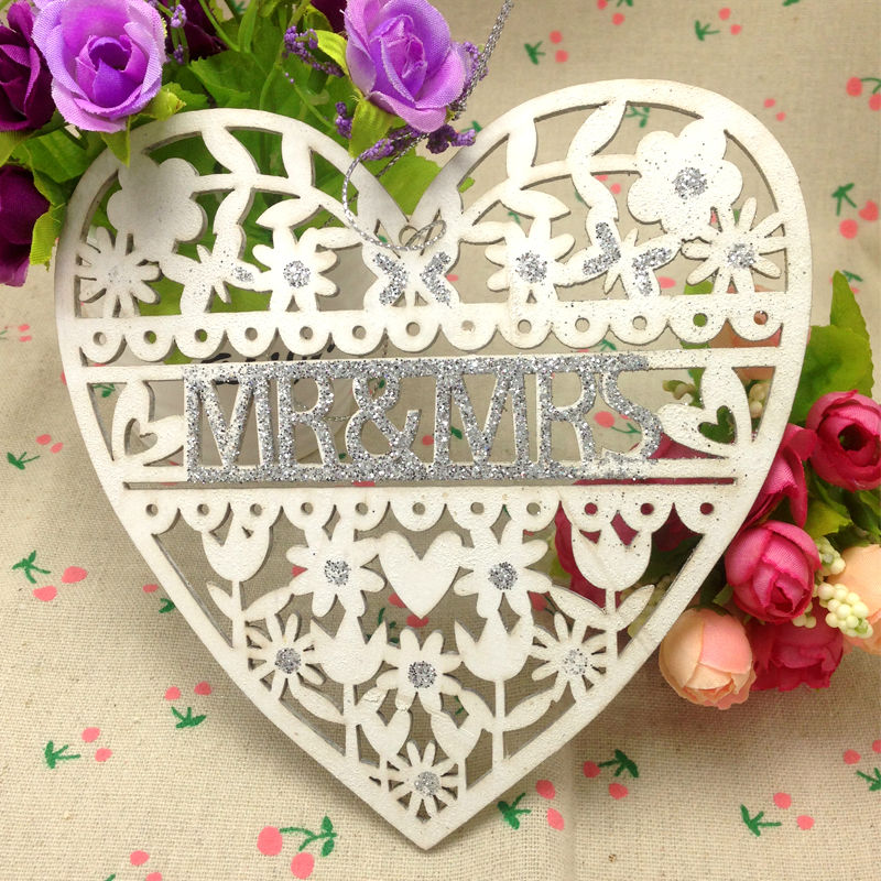 Wedding decoration white wood heart wedding sign mr mrs 15cm wedding decoration white wood heart wedding sign mr mrs 15cm wedding party decoration supplies laser cut romance love heart in party diy decorations from junglespirit Gallery